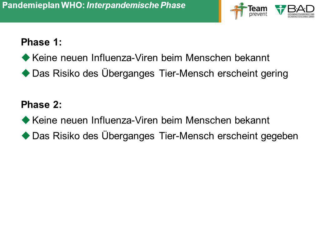 Pandemieplan WHO: Interpandemische Phase Phase 1: Keine neuen Influenza-Viren beim Menschen bekannt Das Risiko des Überganges Tier-Mensch erscheint ge
