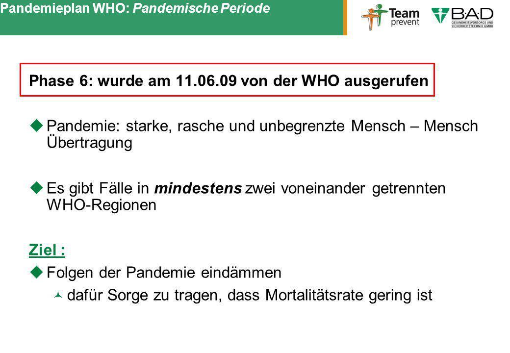 Pandemieplan WHO: Pandemische Periode Phase 6: wurde am 11.06.09 von der WHO ausgerufen Pandemie: starke, rasche und unbegrenzte Mensch – Mensch Übert