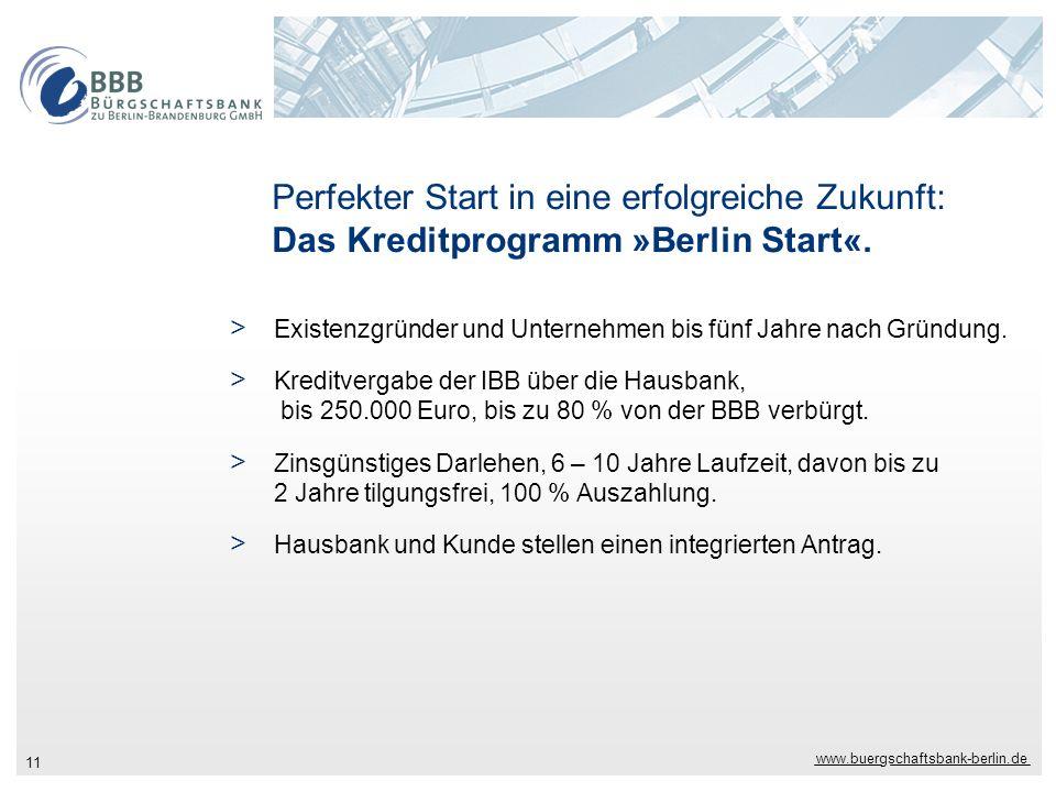 www.buergschaftsbank-berlin.de 11 Perfekter Start in eine erfolgreiche Zukunft: Das Kreditprogramm »Berlin Start«. > Existenzgründer und Unternehmen b