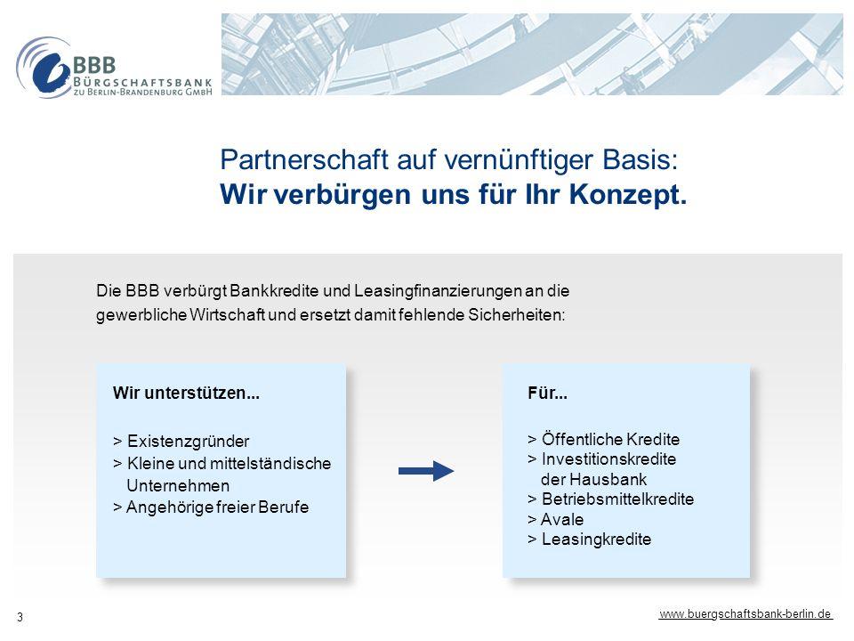 www.buergschaftsbank-berlin.de 3 Partnerschaft auf vernünftiger Basis: Wir verbürgen uns für Ihr Konzept. Die BBB verbürgt Bankkredite und Leasingfina