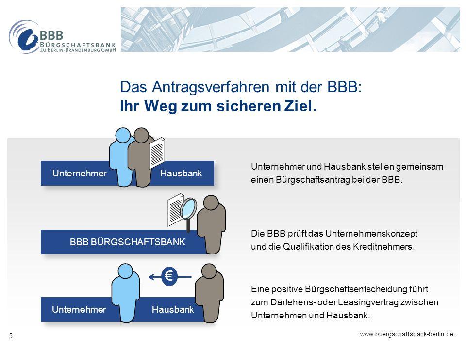 www.buergschaftsbank-berlin.de 5 Das Antragsverfahren mit der BBB: Ihr Weg zum sicheren Ziel. Eine positive Bürgschaftsentscheidung führt zum Darlehen