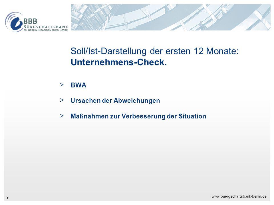 www.buergschaftsbank-berlin.de 9 Soll/Ist-Darstellung der ersten 12 Monate: Unternehmens-Check. > BWA > Ursachen der Abweichungen > Maßnahmen zur Verb