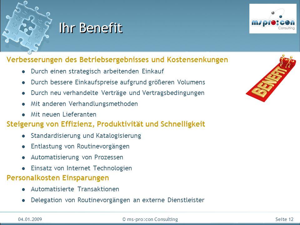 Seite 12 04.01.2009© ms-pro:con Consulting Ihr Benefit Verbesserungen des Betriebsergebnisses und Kostensenkungen Durch einen strategisch arbeitenden