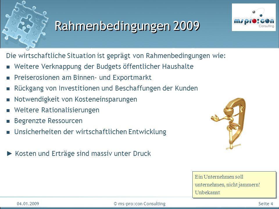 Seite 4 04.01.2009© ms-pro:con Consulting Rahmenbedingungen 2009 Die wirtschaftliche Situation ist geprägt von Rahmenbedingungen wie: Weitere Verknapp