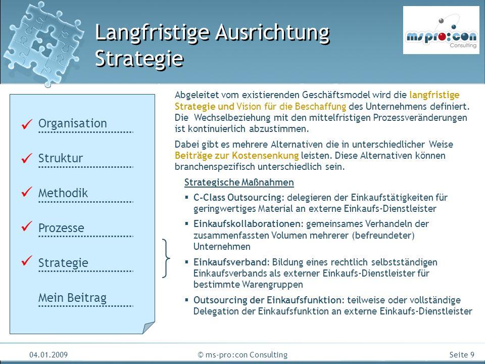 Seite 9 04.01.2009© ms-pro:con Consulting Langfristige Ausrichtung Strategie Organisation Struktur Methodik Prozesse Strategie Mein Beitrag Abgeleitet