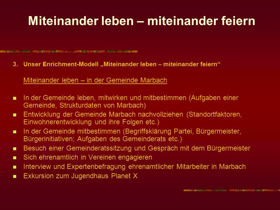 Miteinander leben – miteinander feiern 3. Unser Enrichment-Modell Miteinander leben – miteinander feiern Miteinander leben – in der Gemeinde Marbach I