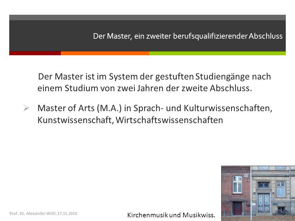 Der Master, ein zweiter berufsqualifizierender Abschluss Prof. Dr. Alexander Wöll, 17.11.2010 Der Master ist im System der gestuften Studiengänge nach
