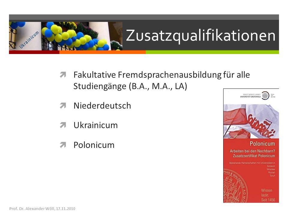 Zusatzqualifikationen Fakultative Fremdsprachenausbildung für alle Studiengänge (B.A., M.A., LA) Niederdeutsch Ukrainicum Polonicum Prof. Dr. Alexande