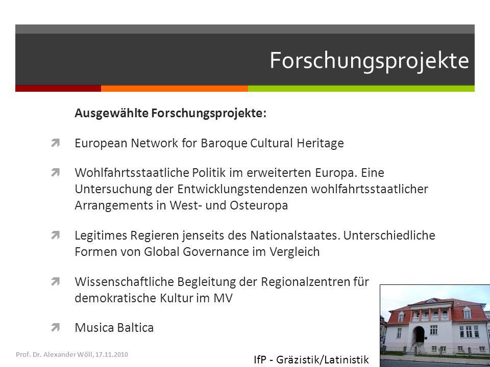 Forschungsprojekte Ausgewählte Forschungsprojekte: European Network for Baroque Cultural Heritage Wohlfahrtsstaatliche Politik im erweiterten Europa.