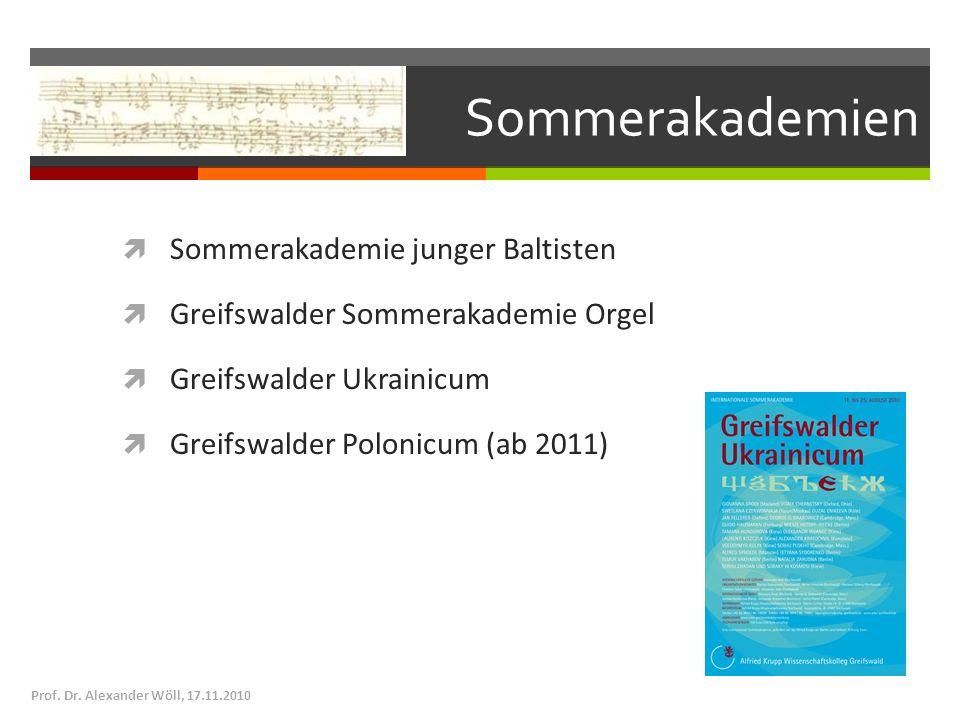 Sommerakademien Sommerakademie junger Baltisten Greifswalder Sommerakademie Orgel Greifswalder Ukrainicum Greifswalder Polonicum (ab 2011) Prof. Dr. A
