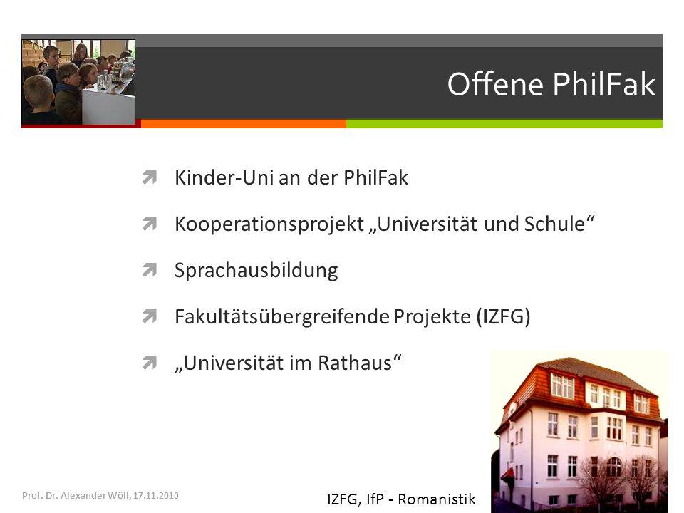 Offene PhilFak Kinder-Uni an der PhilFak Kooperationsprojekt Universität und Schule Sprachausbildung Fakultätsübergreifende Projekte (IZFG) Universitä