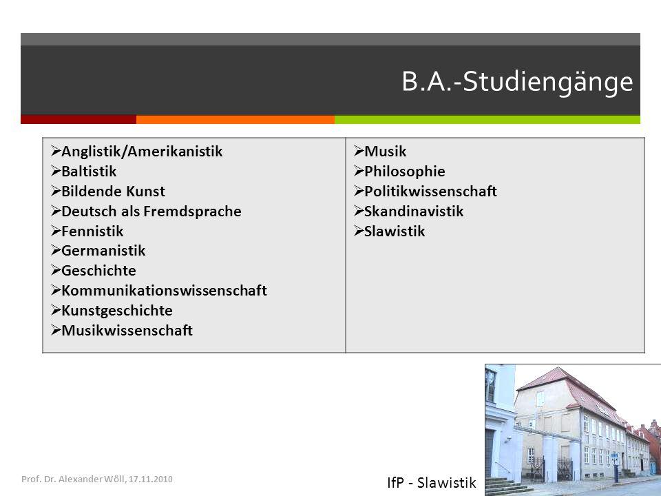 B.A.-Studiengänge Anglistik/Amerikanistik Baltistik Bildende Kunst Deutsch als Fremdsprache Fennistik Germanistik Geschichte Kommunikationswissenschaf