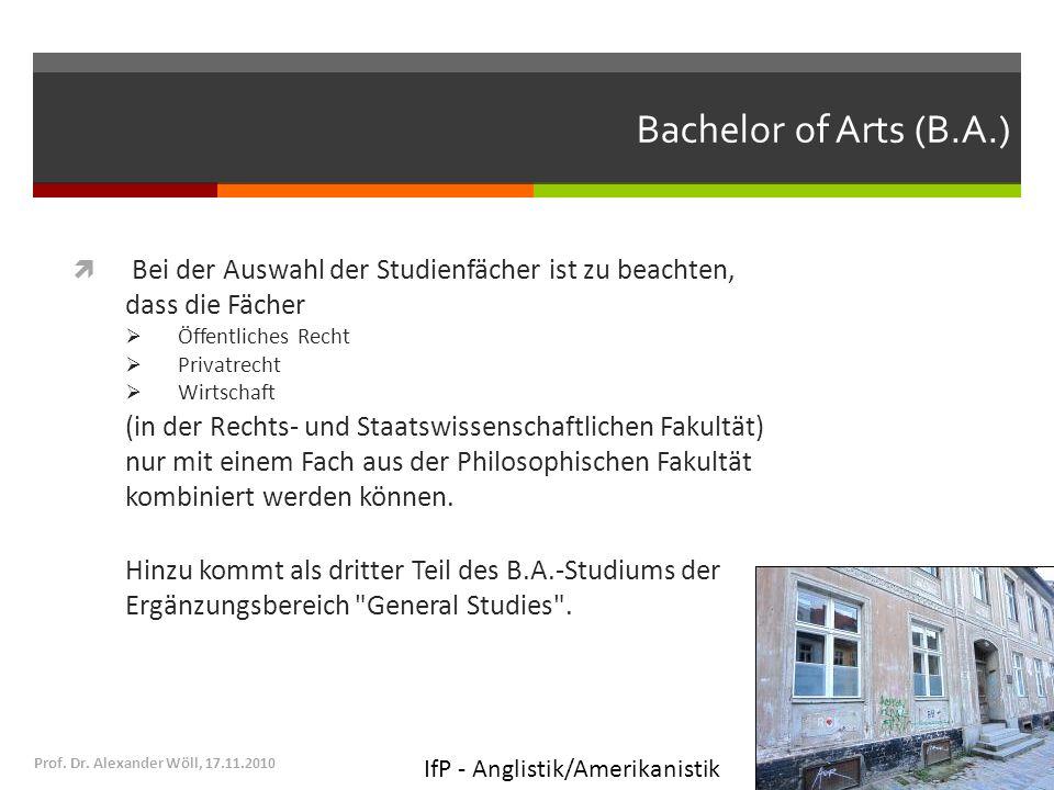 Bachelor of Arts (B.A.) Bei der Auswahl der Studienfächer ist zu beachten, dass die Fächer Öffentliches Recht Privatrecht Wirtschaft (in der Rechts- u