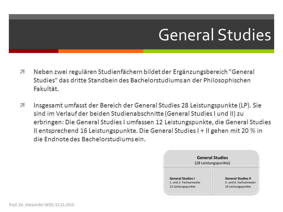 General Studies Neben zwei regulären Studienfächern bildet der Ergänzungsbereich