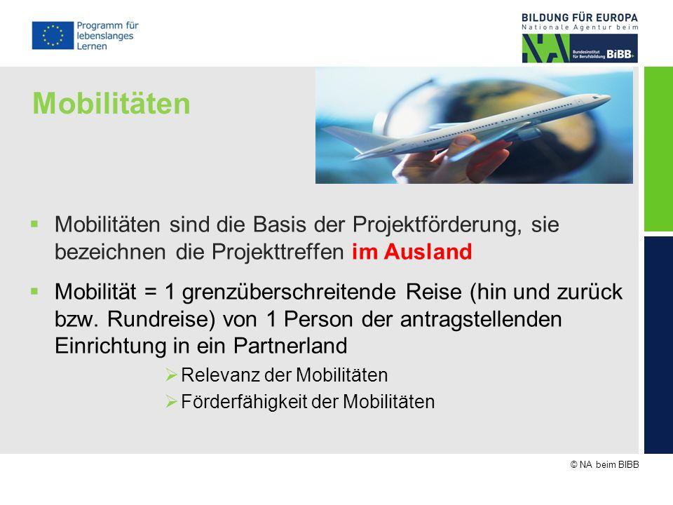 © NA beim BIBB Mobilitäten Mobilitäten sind die Basis der Projektförderung, sie bezeichnen die Projekttreffen im Ausland Mobilität = 1 grenzüberschrei