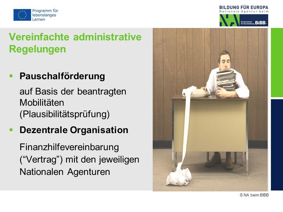 © NA beim BIBB Vereinfachte administrative Regelungen Pauschalförderung auf Basis der beantragten Mobilitäten (Plausibilitätsprüfung) Dezentrale Organ