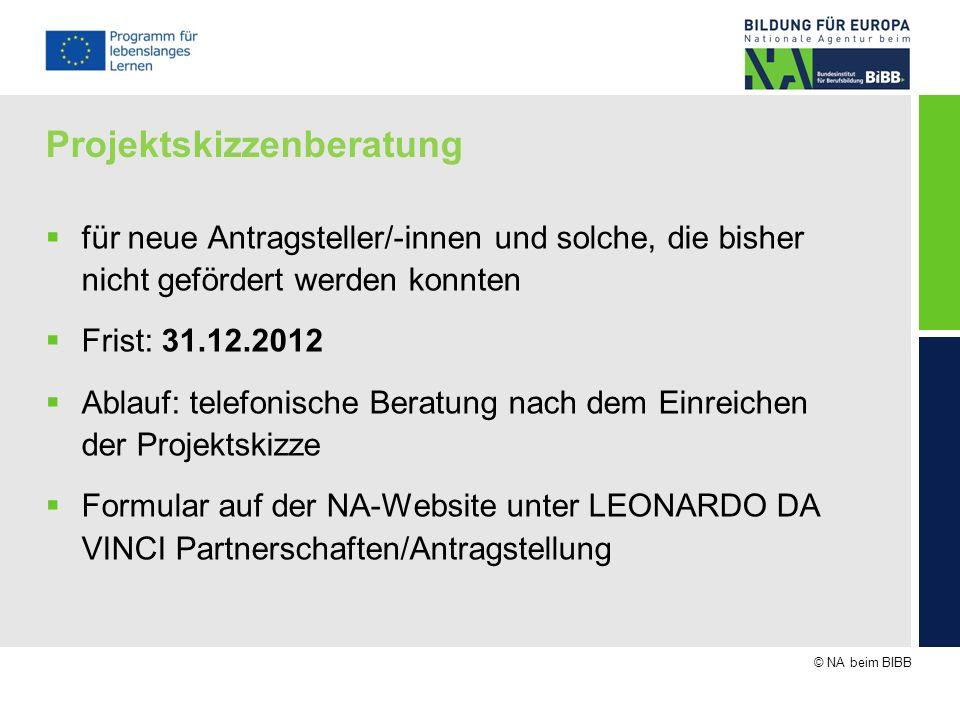 © NA beim BIBB Projektskizzenberatung für neue Antragsteller/-innen und solche, die bisher nicht gefördert werden konnten Frist: 31.12.2012 Ablauf: te