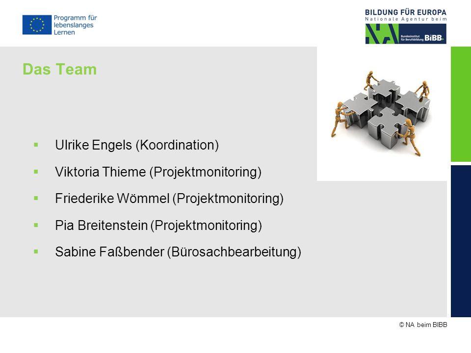 © NA beim BIBB Das Team Ulrike Engels (Koordination) Viktoria Thieme (Projektmonitoring) Friederike Wömmel (Projektmonitoring) Pia Breitenstein (Proje