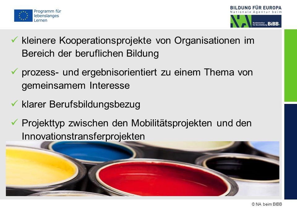© NA beim BIBB kleinere Kooperationsprojekte von Organisationen im Bereich der beruflichen Bildung prozess- und ergebnisorientiert zu einem Thema von