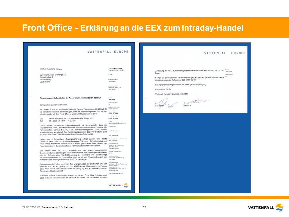 27.08.2009 VE Transmission / Scheibner 14 Front Office – Werbung für den EEX-Intraday-Handel DATUM 04.03.2009 Vattenfall Europe Transmission stärkt Intraday-Handel an der EEX Als erster Übertragungsnetzbetreiber wickelt VE Transmission Intraday-Geschäfte an der EEX ab Weitere Grundlage zur effizienten Erfüllung der TSO Aufgaben somit geschaffen VE Transmission ist als erster Transmission System Operator (TSO) nun auch im innertäglichen Börsenhandel der deutschen Strombörse EEX aktiv und wird damit die Liquidität des Marktes maßgeblich erhöhen und den Wettbewerb auf dem Strommarkt stärken.