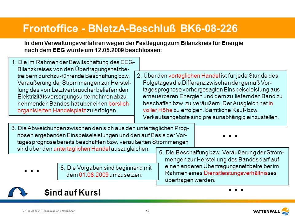 27.08.2009 VE Transmission / Scheibner 16 Teil 2 Verhältnis § 11 EEG und § 13, Abs. 2 EnWG