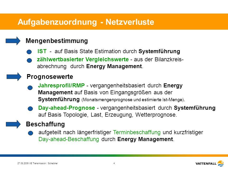 27.08.2009 VE Transmission / Scheibner 5 Aufgabenzuordnung - Regelenergie Systemführung Verantwortung für die Systemsicherheit entsprechend §§ 12-14 EnWG – Frequenz und Spannungshaltung, Stabilitätssicherung (u.a.