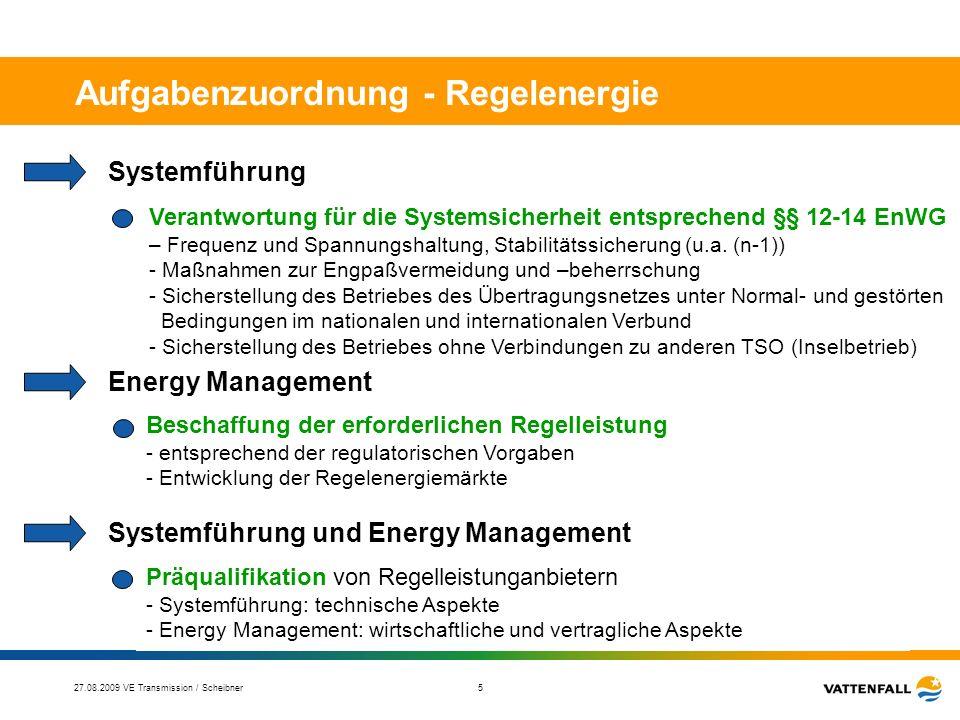 27.08.2009 VE Transmission / Scheibner 6 Aufgabenzuordnung – EEG-Ausgleich Systemführung Prognosen der zu erwartenden Windeinspeisung und Hochrechnung - (ggf.