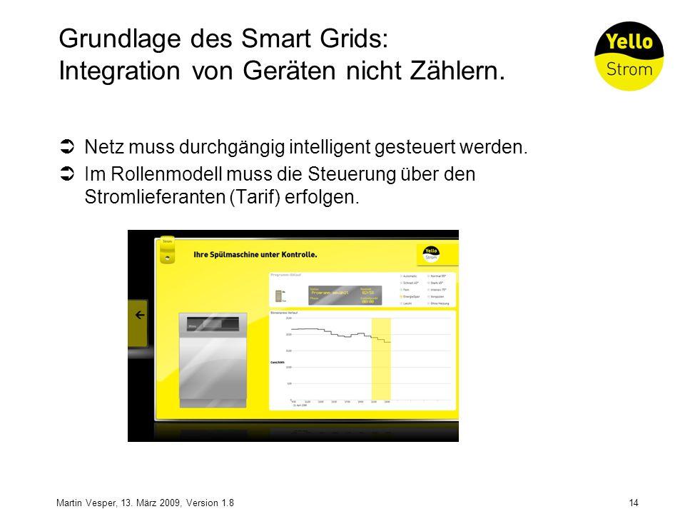 14Martin Vesper, 13. März 2009, Version 1.8 Grundlage des Smart Grids: Integration von Geräten nicht Zählern. Netz muss durchgängig intelligent gesteu