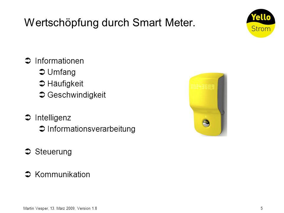 5Martin Vesper, 13. März 2009, Version 1.8 Wertschöpfung durch Smart Meter. Informationen Umfang Häufigkeit Geschwindigkeit Intelligenz Informationsve