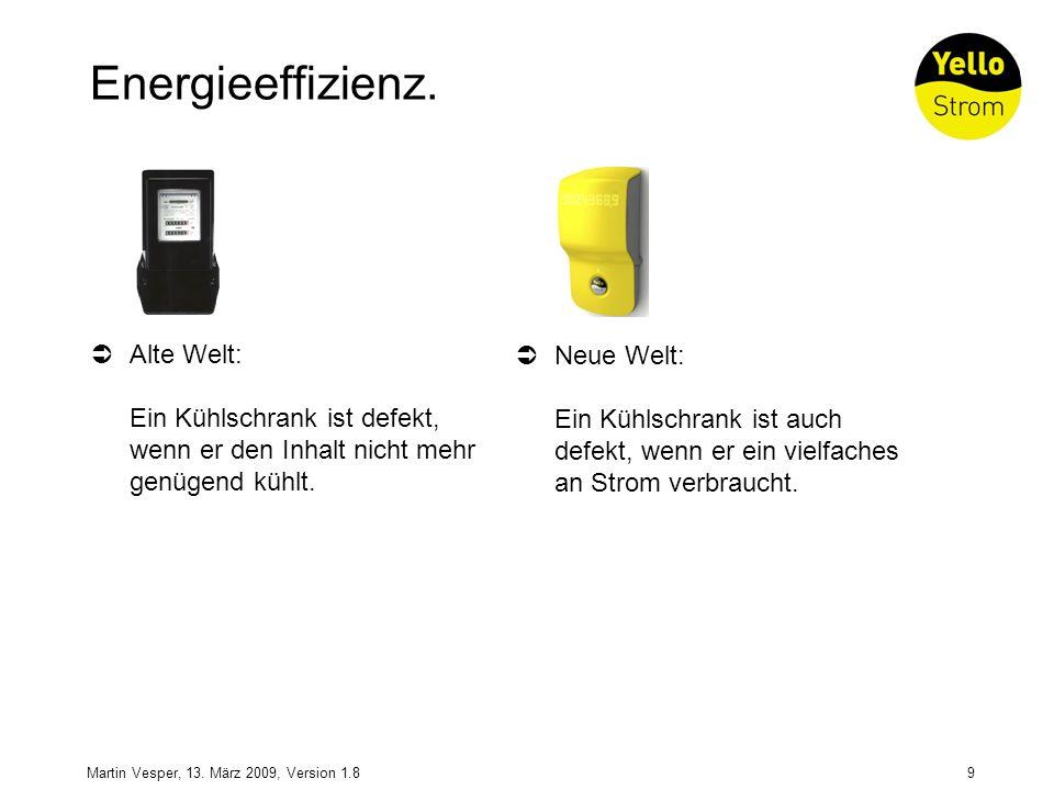 9Martin Vesper, 13. März 2009, Version 1.8 Energieeffizienz. Alte Welt: Ein Kühlschrank ist defekt, wenn er den Inhalt nicht mehr genügend kühlt. Neue