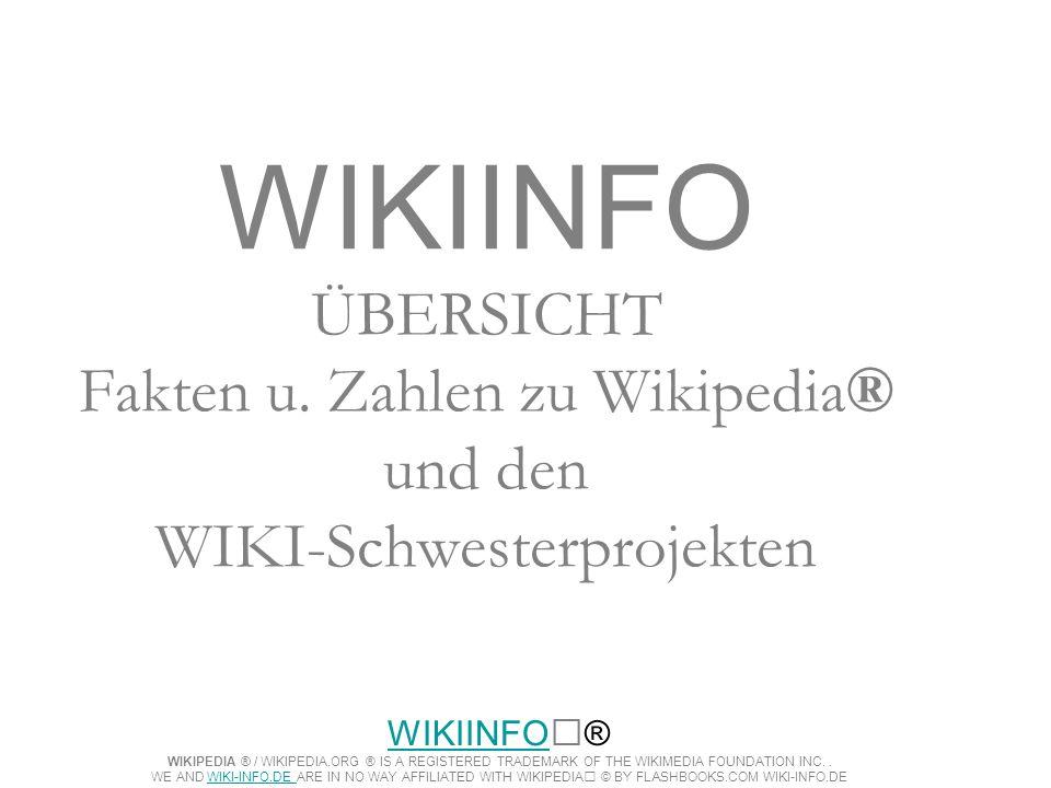 WIKIINFO ÜBERSICHT Fakten u. Zahlen zu Wikipedia® und den WIKI-Schwesterprojekten WIKIINFOWIKIINFO® WIKIPEDIA ® / WIKIPEDIA.ORG ® IS A REGISTERED TRAD
