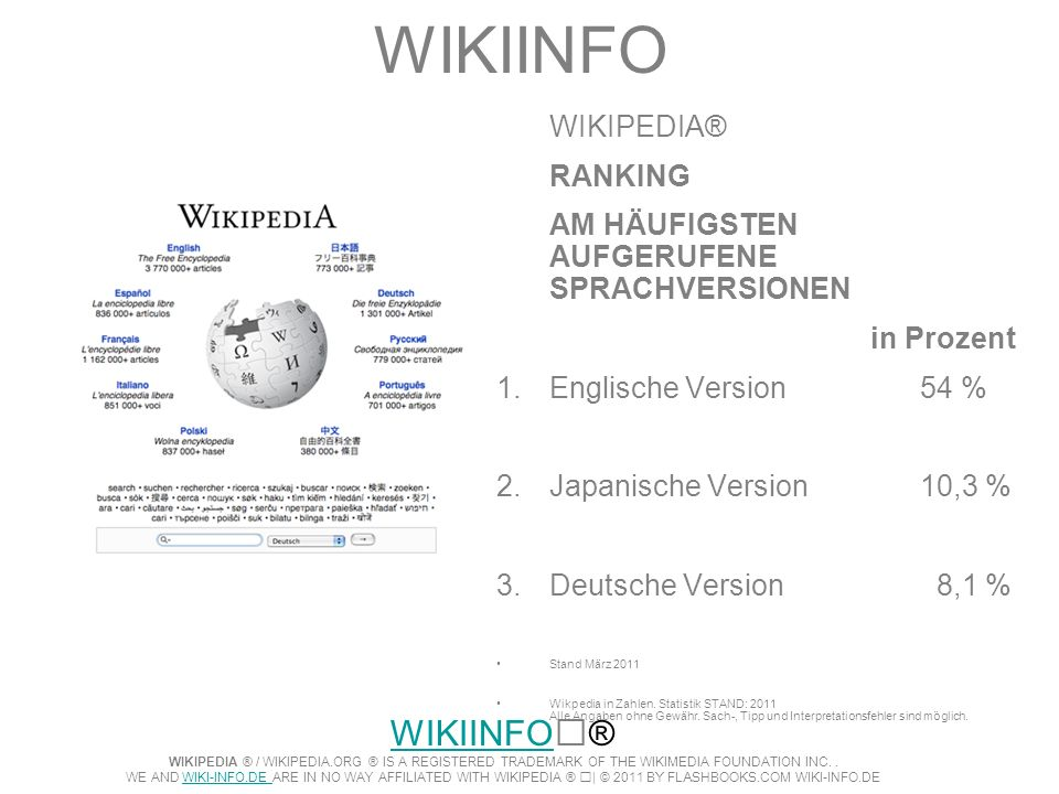 WIKIINFO WIKIPEDIA® RANKING AM HÄUFIGSTEN AUFGERUFENE SPRACHVERSIONEN in Prozent 1.Englische Version 54 % 2.Japanische Version10,3 % 3.Deutsche Versio