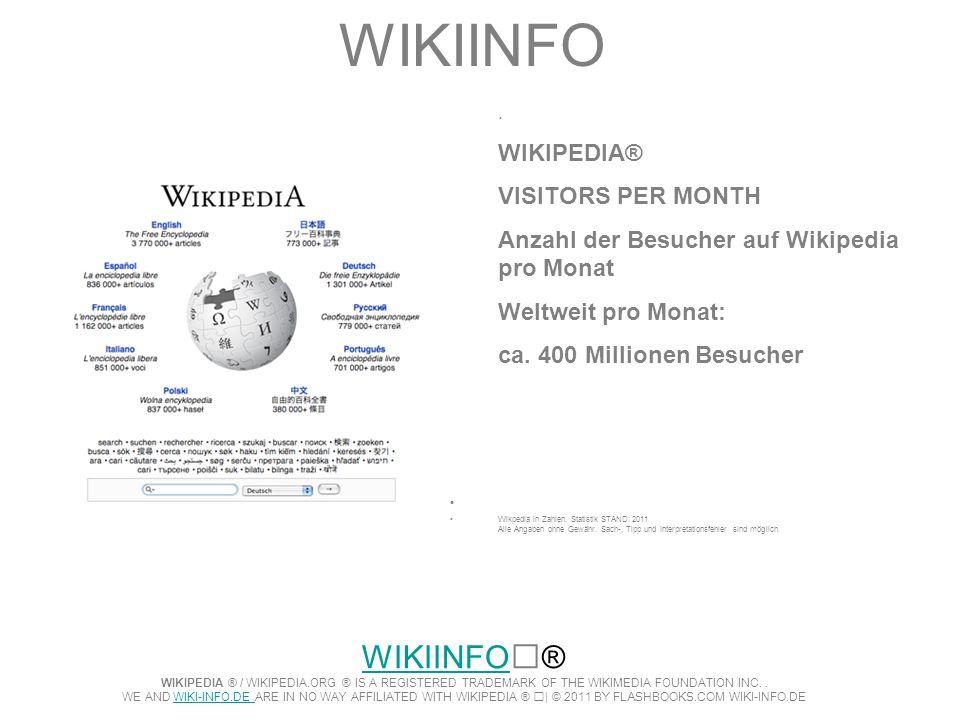 WIKIINFO. WIKIPEDIA® VISITORS PER MONTH Anzahl der Besucher auf Wikipedia pro Monat Weltweit pro Monat: ca. 400 Millionen Besucher Wikpedia in Zahlen.