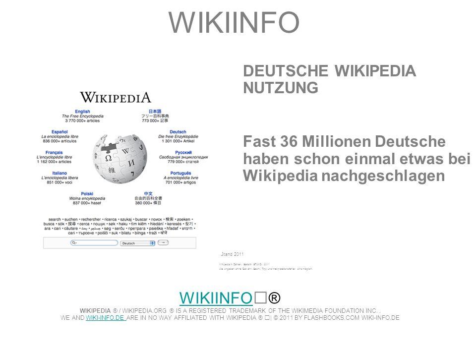 WIKIINFO DEUTSCHE WIKIPEDIA NUTZUNG Fast 36 Millionen Deutsche haben schon einmal etwas bei Wikipedia nachgeschlagen Stand 2011 Wikpedia in Zahlen. St