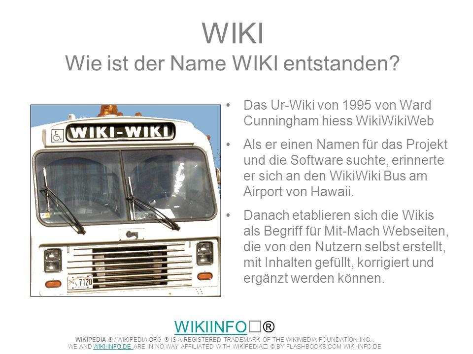 WIKI Wie ist der Name WIKI entstanden? Das Ur-Wiki von 1995 von Ward Cunningham hiess WikiWikiWeb Als er einen Namen für das Projekt und die Software