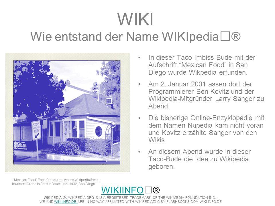 WIKI Wie entstand der Name WIKIpedia® In dieser Taco-Imbiss-Bude mit der Aufschrift Mexican Food in San Diego wurde Wikpedia erfunden. Am 2. Januar 20
