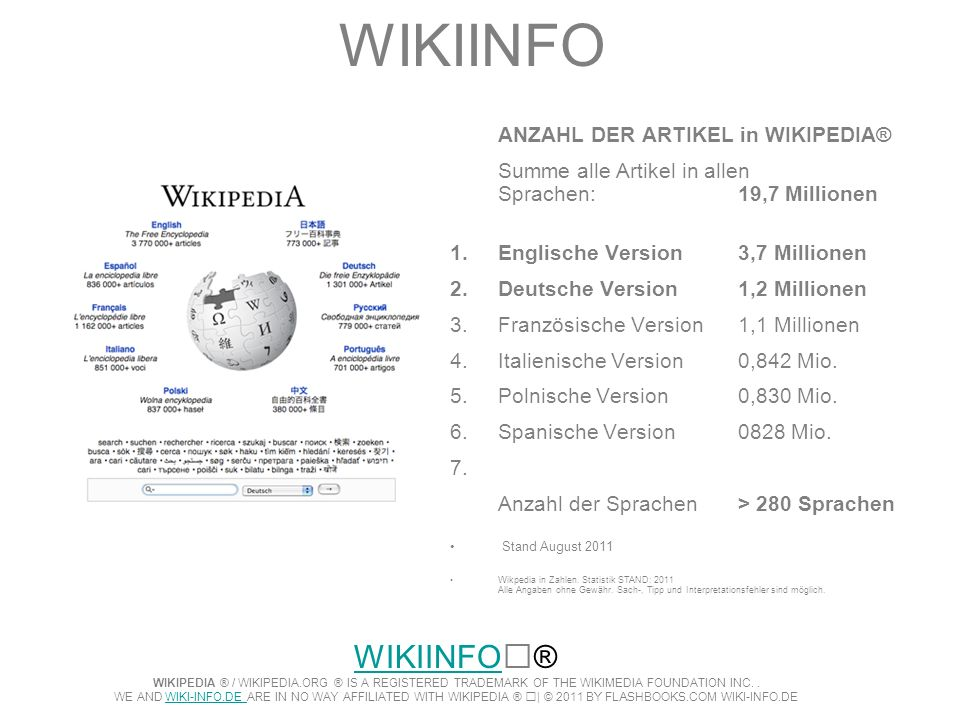 WIKIINFO ANZAHL DER ARTIKEL in WIKIPEDIA® Summe alle Artikel in allen Sprachen: 19,7 Millionen 1.Englische Version 3,7 Millionen 2.Deutsche Version1,2