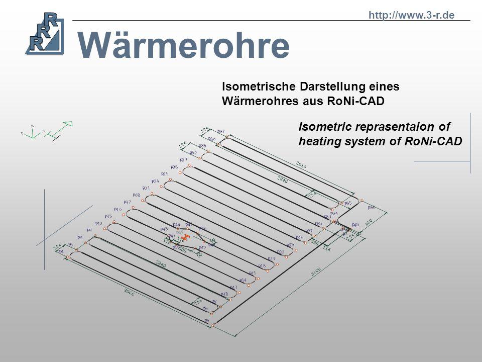 Wärmerohre http://www.3-r.de Working process: Konstruktionsstation RoNi-CAD Erzeugung der Rohrgeometrie/Isometrie Erstellen von: Optimierten Sägeliste