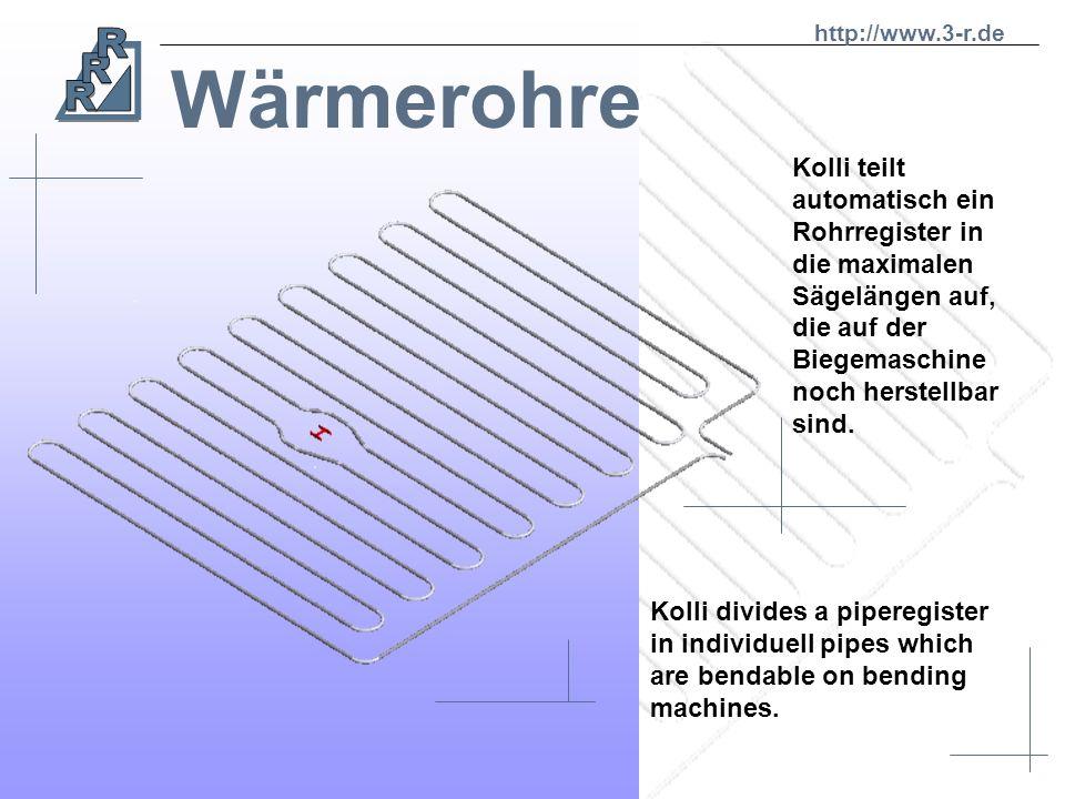 Wärmerohre Isometrische Darstellung eines Wärmerohres aus RoNi-CAD Isometric reprasentaion of heating system of RoNi-CAD http://www.3-r.de