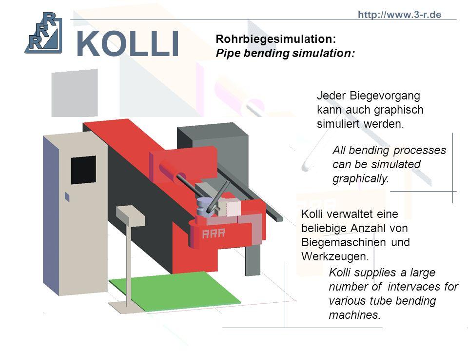 KOLLI Mit dem System KOLLI kann das maschinelle Biegen von Rohren simuliert werden. With the KOLLI system mechanical tube bending can be simulated. KO