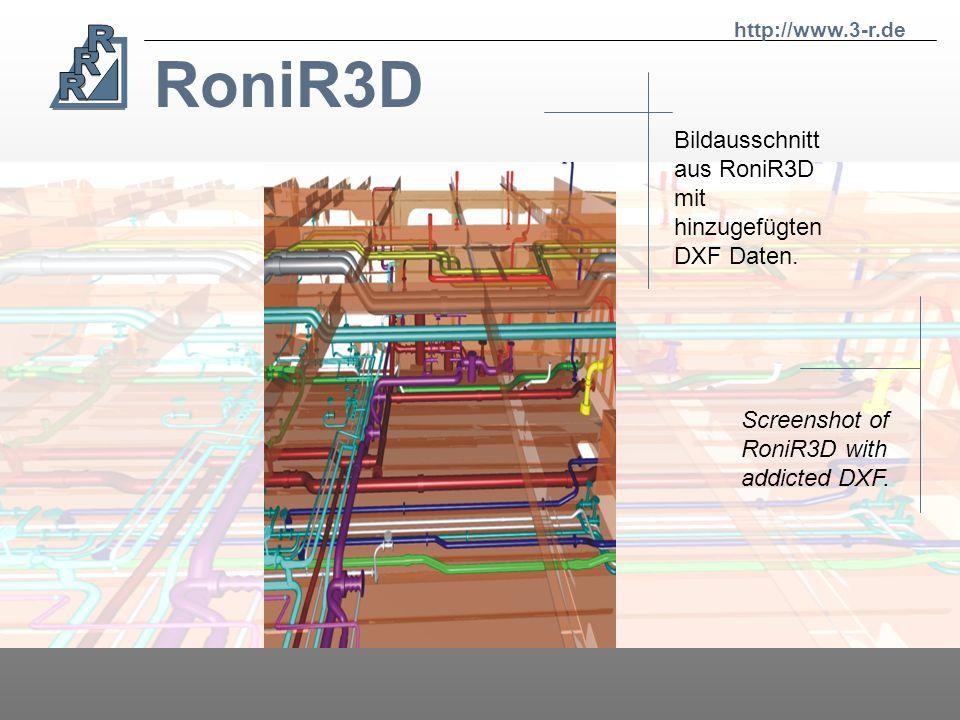 RoniR3D RoniR3D ist eine unserer Neuentwicklungen. Sie können sich in drei Dimensionen völlig frei fliegend durch komplette Isometrien bewegen. RoniR3