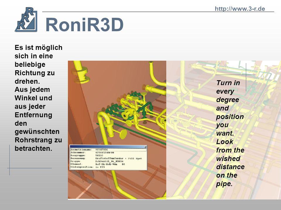 RoniR3D http://www.3-r.de Screenshot of RoniR3D with addicted DXF. Bildausschnitt aus RoniR3D mit hinzugefügten DXF Daten.
