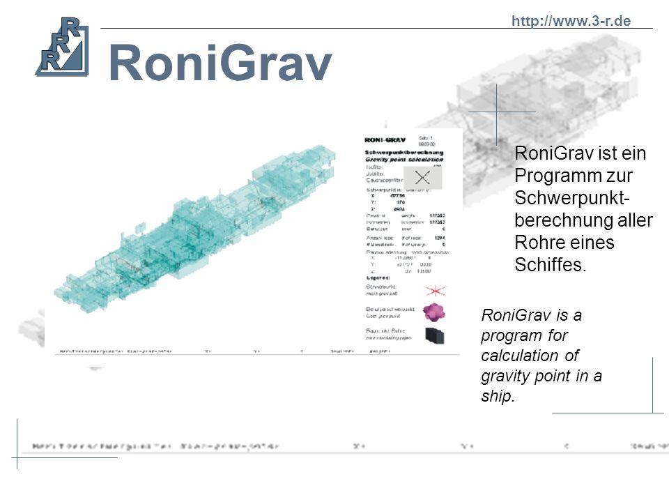 RoniR3D Ein Mausklick auf ein Isometrieelement genügt, um alle relevanten Daten wie den Namen und die Baugruppe anzuzeigen. Focus a part of an isometr