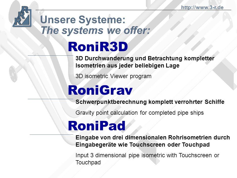 Unsere Systeme: RoNi-CAD KOLLI RAMP Werkstattsteuerung, Arbeitsplanung, Statistiken workshop management, statistics Rohrbiegesimulation, Kollisionsübe