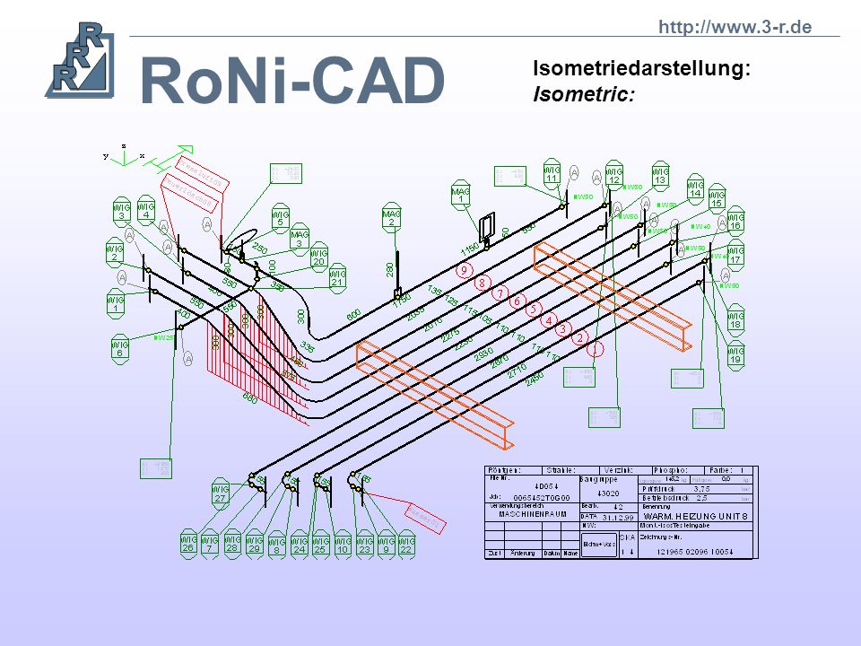 RoNi-CAD Die CAD-Applikation RoNi deckt den kompletten Rohrkonstruktions- bereich ab. The CAD-application RoNi covers the whole range of pipe construc