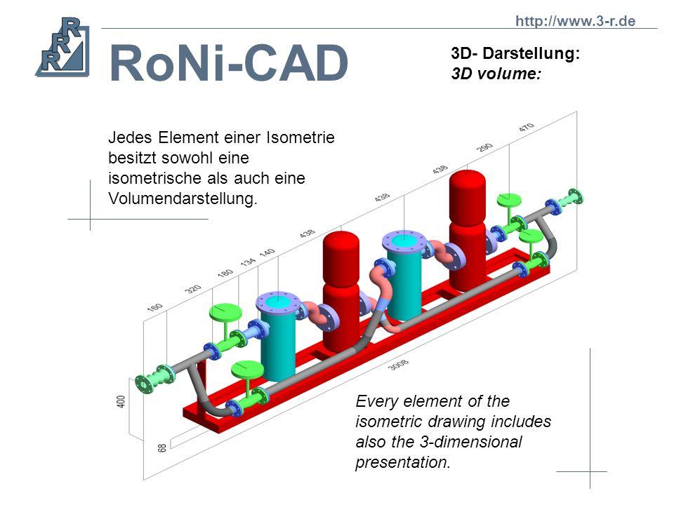 RoNi-CAD 3D- Darstellung: 3D volume: Jedes Element einer Isometrie besitzt sowohl eine isometrische als auch eine Volumendarstellung.