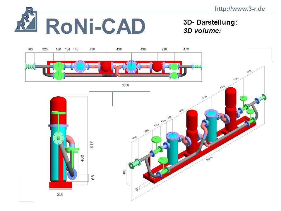 RoNi-CAD 3D- Darstellung: 3D volume: Jedes Element einer Isometrie besitzt sowohl eine isometrische als auch eine Volumendarstellung. Every element of