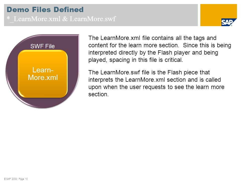 Demo Files Defined *_LearnMore.xml & LearnMore.swf The LearnMore.xml file contains all the tags and content for the learn more section. Since this is