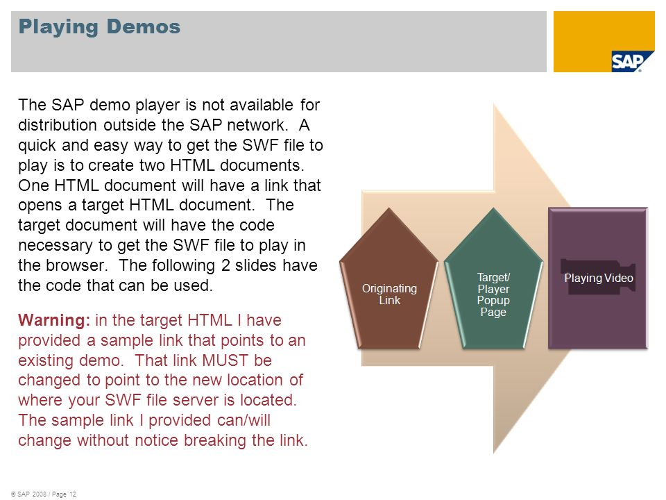 Playing Demos The SAP demo player is not available for distribution outside the SAP network. A quick and easy way to get the SWF file to play is to cr