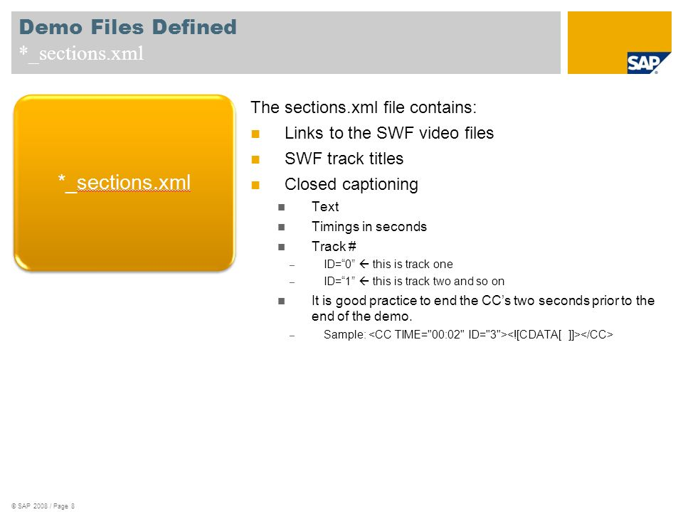 Demo Files Defined alt_Tags_*.xml The alt_Tags.xml file contains the following and sits above the folder structure.